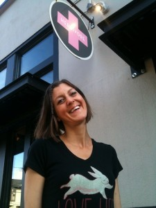 Shel Graves at the Vegan MiniMall in Portland, Oregon, outside of Herbivore Clothing Company.